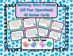 Simply print, cut, and use! These 40 cards are perfect for practicing multistep word problem solving skills. The cards can be used as an around the room scavenger hunt, desk scoot game, or simply as a stack of task cards in a math center. Multiplication And Division, Problem Solving Skills, Addition And Subtraction, Teaching Materials, Word Problems, Task Cards, Math Centers, Assessment, Students