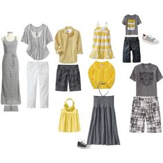 """""""Grey/yellow family portrait outfits"""" by maryrushing on Polyvore"""