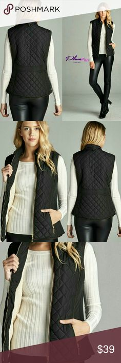 """Kiera"" ☆PLUS SIZE☆ Quilted Vest Experience the comfort of casual chic with this Quilted padding vest. Features crew neck, zipper front with neck snap closure, side slit pockets and faux shearling lining in contrasting color adds warmth. Pairs well with our Vegan Leather Leggings.  Color: Black  Material: 100% polyester  Size: 1X, 2X, 3X ☆PRICE IS FIRM☆ BUNDLE & SAVE 15% OFF Wild Plum  Jackets & Coats Vests"