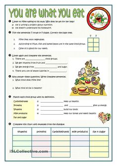 YOU ARE WHAT YOU EAT worksheet. ESL worksheet of the day by rmartinandres. April 2, 2015