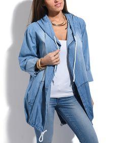 Loving this Blue Wash Denim Split-Back Hoodie - Plus Too on #zulily! #zulilyfinds