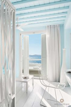 Modern design: Suite at the Cavo Tagoo Hotel in Mykonos: Coastal Homes, Coastal Living, Cavo Tagoo Mykonos, Mykonos Hotels, Mykonos Greece, Santorini, Myconos, Hotel Decor, Beach Cottages