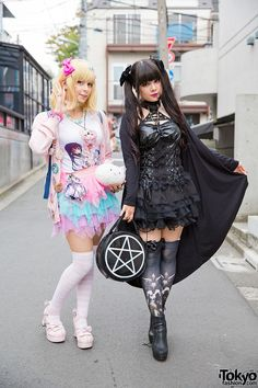 Harajuku Girls in Gothic & Pastel Fashion We spotted these two Kotoe and Yuriko Tiger in Harajuku, when they were wearing pastels and all black respectively. #vanitytours and like OMG! get some yourself some pawtastic adorable cat shirts, cat socks, and other cat apparel by tapping the pin!