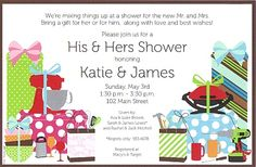 couples shower ideas | She & He Couples Shower Invitation - Party Time - 800-822-6332