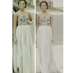 Gray Sequence Lace Prom Formal Dress Sheer Maxi PROM SEASON! I wore this dress on my junior prom and the bottom was redone by me! (My dream was to go to fashion school) So I made this dress as I wanted and it was a hit! The dress flows so beautifully with the sheer maxi panels and the under dress is a gray silk. There is some wear and tear as you can see in the last picture but nothing that a quick sew can't fix! This dress is unique, you don't have to worry about anyone having the same…