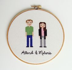Cross Stitch Couple Portrait - Personalized Wedding Gift, Engagement or Anniversary Gift Idea - Name and date or short phrase included via Pipi