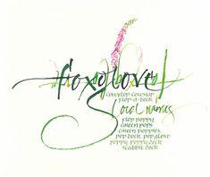 Foxglove (with Cornish local flower names) | Celia Lister: folded pen-and-nib lettering; gouache; Ecoline watercolor pencils