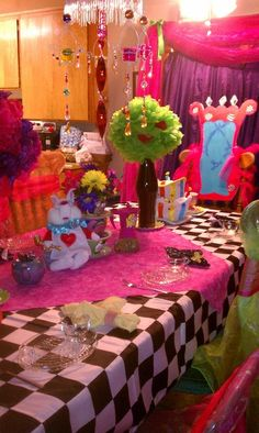 Mad Hatter tea party Birthday party... Especially like the chair idea...