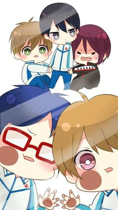 Rin scared with Makoto hiding behind Haru while Rei and Nagisa wanting to know what is happening. Lol