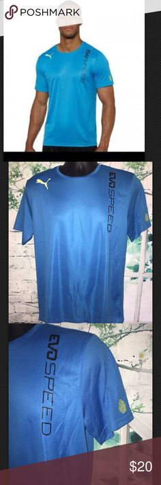 "PUMA Men's EvoSpeed Training Tee: Size M NEW WITH TAGS.  Store try on model No holes or dirty spots    PUMA Men's EvoSpeed Training Tee Size M   Color Brilliant Blue 100% Polyester    Length 28"" Armpit to Armpit 21"" Shoulder to Shoulder 17"" Sleeve Length 9""       100%Authentic  Any questions feel free to message me. costumer satisfaction is my priority. positive feedback rating will be appreciated. THANK YOU=) Puma Shirts Tees - Short Sleeve"