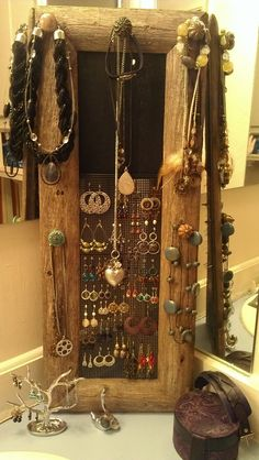 Rustic Jewelry Holder 24 Inches Long Distressed