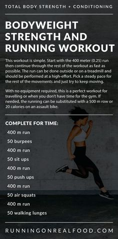 This no-equipment bodyweight and running workout alternates running with bodyweight exercises such as burpees, sit-ups, air squats and walking lunges. It can be done anytime, anywhere, as long as you have a treadmill or outdoor 400 m mile) route. Burpees, Squats And Lunges, Air Squats, Treadmill Workouts, Fun Workouts, Workout Bodyweight, Tabata, Strength And Conditioning Workouts, Strength Workout