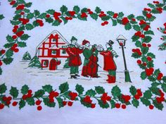 Printed Christmas Tablecloth  Vintage with Red by VintagePDX, $30.00