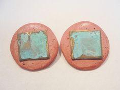 Vintage Boho Earrings Pop Art Lava Rock? Round Large Chunky 1980's Retro Pierced #Unbranded #Pierced