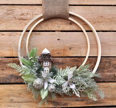 Winter Holiday Woodland Wreath, DIY, easy craft, tutorial, rustic holiday trend woodland green Christmas poinsettia embroidery hoop quilting embroidery hoop