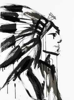 Chief (Male) by Jenna Snyder-Phillips Print + Art DIY Inspirations + Western + Rustic + Lodge Décor + American Indian + Black and White + Lake House + Cabin