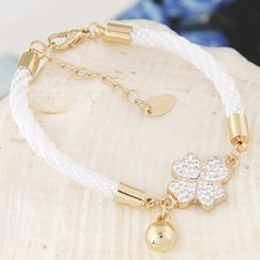 Zinc Alloy Bracelet with Rhinestone Clay Pave Nylon Cord with extender chain Four Leaf Clover gold color plated white lead cadmium free wholesale jewelry beads Color Dorado, Semi Precious Beads, Four Leaf Clover, Collar Necklace, Lampwork Beads, Wholesale Jewelry, Fashion Bracelets, Gemstone Beads, Beaded Jewelry