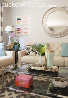 Love this living room with its pops of color. Need this rug.