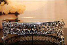 12inch Round Silver Metal Acrylic Crystal Strand Mirror Wedding Cake Stand Decor