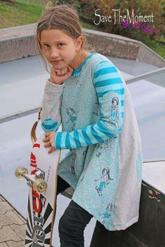Jolinas Welt: Louisa liebt es auf Rollen unterwegs zu sein hier passt Lottis Zipfelshirt von MiToSa mit dem tollen Stoff Skatergirls