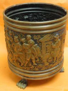 Antique Hand Embossed Copper Bin Made in Belgium   eBay