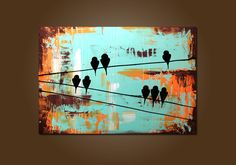 Day on a Wire - HUGE 36 x 24, Heavy Textured, ORIGINAL, Contemporary Abstract PAINTING Art. $299.00, via Etsy.