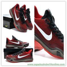 sites de tenis Nike Kobe 10 Deep Garnet Vermelho / Preto 653972-615