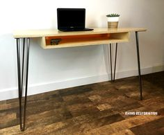 Custom built blond desk made with pressed birch. Shelf features amber lucite backing. Steel hairpin legs. Customize one for your decor.