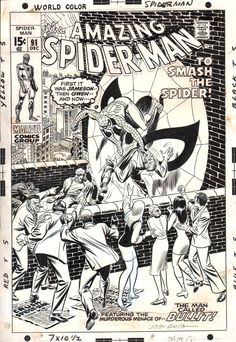 Original cover art by John Romita, Sr. from The Amazing Spider-Man #91, published by Marvel, December 1970.