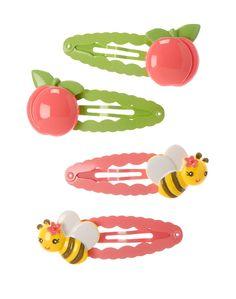 Gymboree Girl Preppy Peach Bee Peach Hair Clips