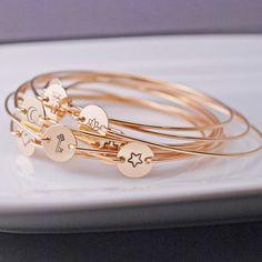 Gold Bangle Bracelet, Hand Stamped Gold Bracelet, Lotus, Key, Heart, Star, Cross, Moon, Owl