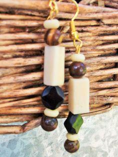 Brown Bead EarringsBrown Dangle Bead Earrings Black by mscenna, $8.00