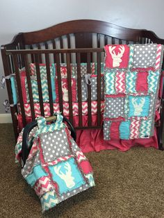 CAR SEAT Canopy and Baby Blanket With Deer Silhouette in Grey, Hot Pink, and Aqua