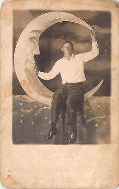 Paper Moon Studio RPPC Man with White Shirt Posing Real Photo Postcard Unused   eBay