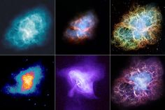 Top Row (left to right): The Crab Nebula at radio, infrared and visible wavelengths. Bottom Row (left to right): ultraviolet, x-ray, and a false-color composition of the full range.