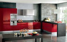 #cocinas diseño de cocinas en color rojo