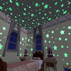 100pcs Wall Stickers Decal Glow In The Dark Baby Kids Bedroom Home Decor Color Stars Luminous Fluorescent Wall Stickers Decal >>> Check out this great product.
