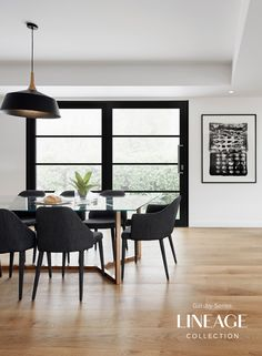 Showing timber table with black chairs House Design, Home, House Styles, Home Deco, Timber Dining Table, Dining Table Chairs, Interior Design Living Room, Interior Design, Home And Living