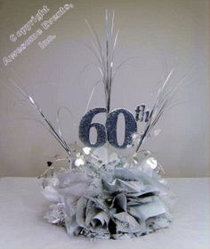 60th Cut Out used in a DIY Anniversary Centerpiece Kit. Choose your colors to make your own 60th Corporate or Wedding Anniversary table decorations. www.awesomeevent.com