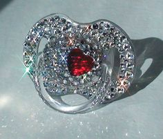 Crystal Swarovski Pacifier Red HEART Charm Baby Girl Boy BLING Rhinestone Gem Jeweled Glitter Diamond Sparkle Crystal Dummy Soother 0-6m.