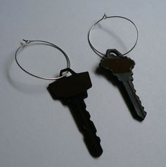 latch key  laser cut and engraved earrings by shamptonindustries, $15.00