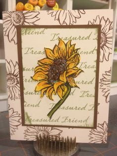 Sunflower card.  Love the frame and colors