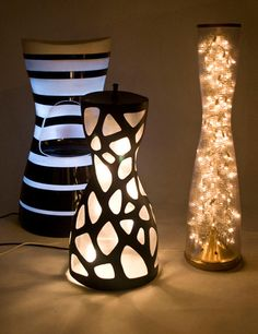 Creative/trendy way to light up your home Creative Lamps, I Love Lamp, Modern Lighting, Lighting Ideas, Light Up, Vase, Crafty, Karim Rashid, Lamp Ideas