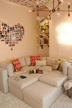 teen girl bedroom. I love the pictures in the shape of a heart on the wall!