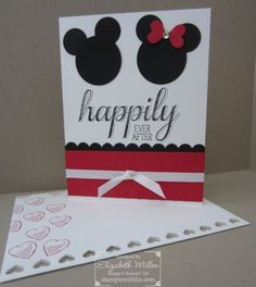 "Stampin Up Disney ""Happily ever after"" anniversary card with Mickey an Minnie Cricut Cards, Stampin Up Cards, Disney Scrapbook, Scrapbook Cards, Scrapbooking, Minnie Y Mickey Mouse, Disney Mickey, Disney Cards, Disney Diy"