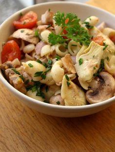 Salade de pâtes au coeur d'artichauts, jambon et champignon Pasta Al Dente, Salad Bar, Pasta Dishes, Love Food, Potato Salad, Entrees, Meal Prep, Clean Eating, Food Porn