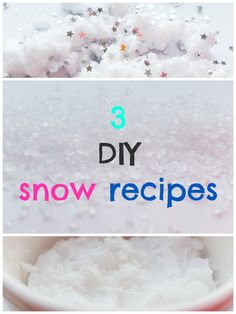 DIY snow. How to make fake snow at home. 3 easy recipes. Make snow in few minutes.