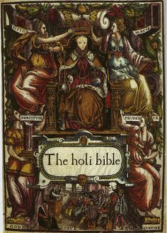 Excerpt: 'ELIZABETH I: Image of the Queen on the cover of the BISHOP'S BIBLE 1569 Royal Collection, Round Tower, Windsor Castle.'