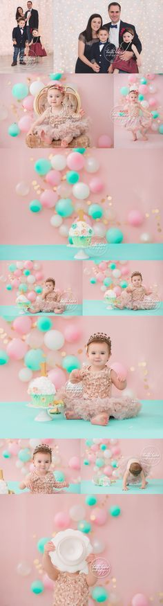 Celebrating R's first birthday with a pink, gold and mint green cakesmash fit for a princess!   Heidi Hope Photography