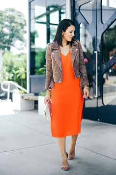 red midi dress and suede jacket, fall outfit ideas - My Style Vita @mystylevita